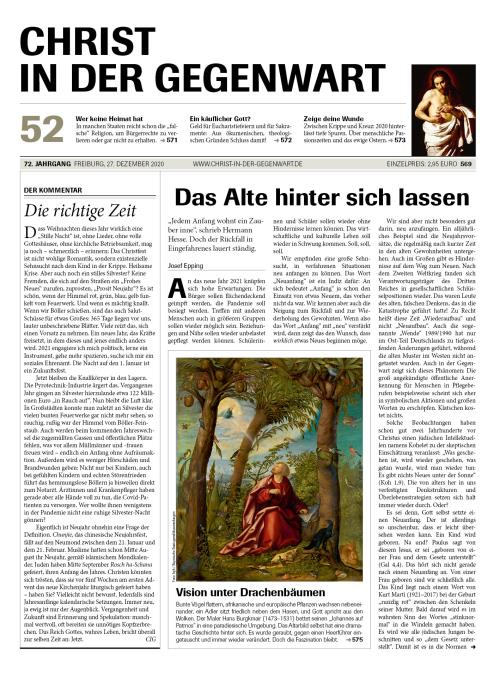 CHRIST IN DER GEGENWART 72. Jahrgang (2020) Nr. 52/2020