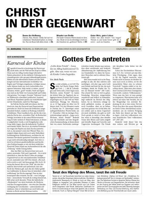 CHRIST IN DER GEGENWART 72. Jahrgang (2020) Nr. 8/2020