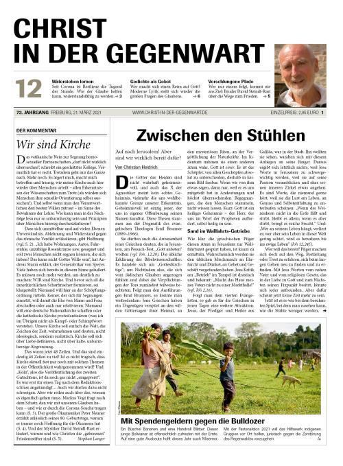 CHRIST IN DER GEGENWART 73. Jahrgang (2021) Nr. 12/2021
