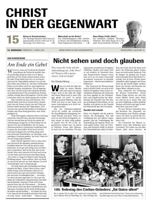 CHRIST IN DER GEGENWART 73. Jahrgang (2021) Nr. 15/2021