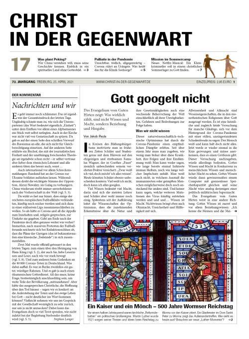 CHRIST IN DER GEGENWART 73. Jahrgang (2021) Nr. 17/2021