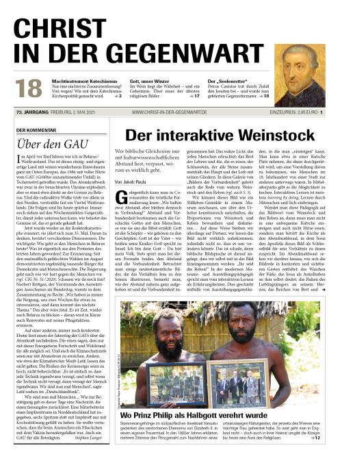 CHRIST IN DER GEGENWART 73. Jahrgang (2021) Nr. 18/2021