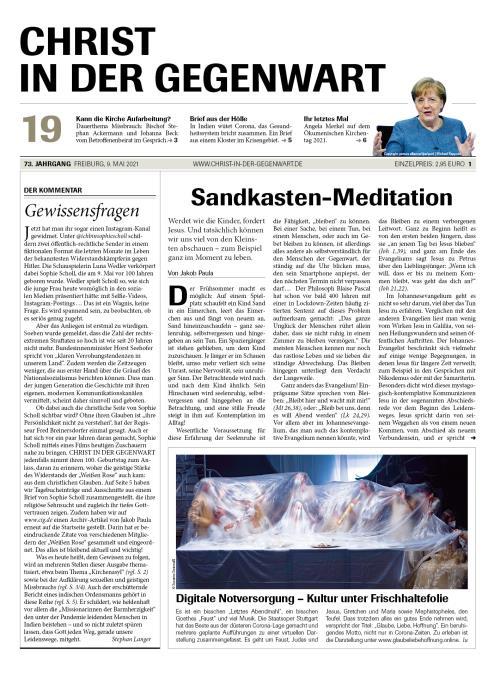 CHRIST IN DER GEGENWART 73. Jahrgang (2021) Nr. 19/2021