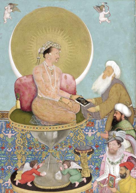 Der Mogulherrscher trägt einen Heiligenschein, um sein Haupt flattern Putten. Vor Akbar wären solche Motive in der islamischen Kunst undenkbar gewesen.