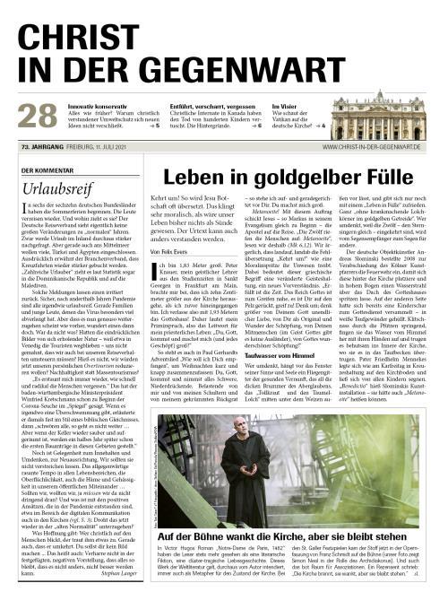 CHRIST IN DER GEGENWART 73. Jahrgang (2021) Nr. 28/2021