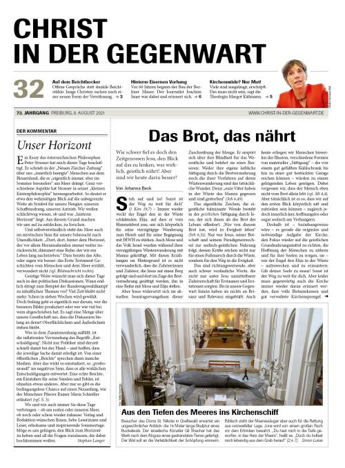 CHRIST IN DER GEGENWART 73. Jahrgang (2021) Nr. 32/2021