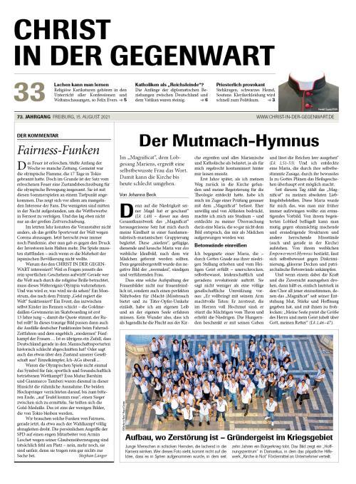 CHRIST IN DER GEGENWART 73. Jahrgang (2021) Nr. 33/2021