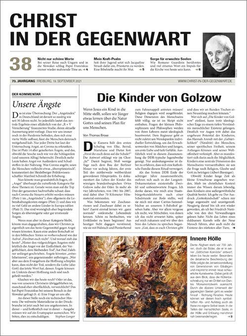 CHRIST IN DER GEGENWART 73. Jahrgang (2021) Nr. 38/2021