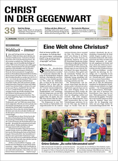 CHRIST IN DER GEGENWART 73. Jahrgang (2021) Nr. 39/2021