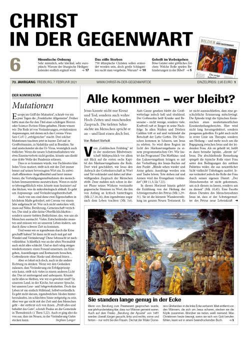 CHRIST IN DER GEGENWART 73. Jahrgang (2021) Nr. 6/2021