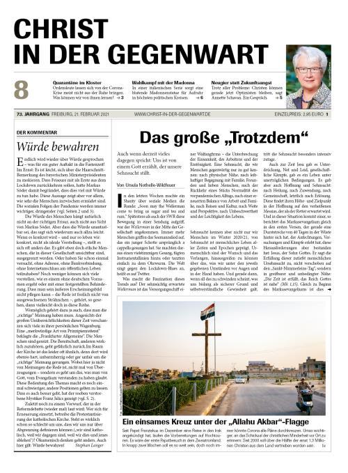CHRIST IN DER GEGENWART 73. Jahrgang (2021) Nr. 8/2021