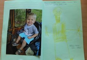 Fotos, Zeichnungen und kurze Texte – in Zusammenarbeit mit ihren Erzieher(inne)n entstehen die Bücher der Kinder