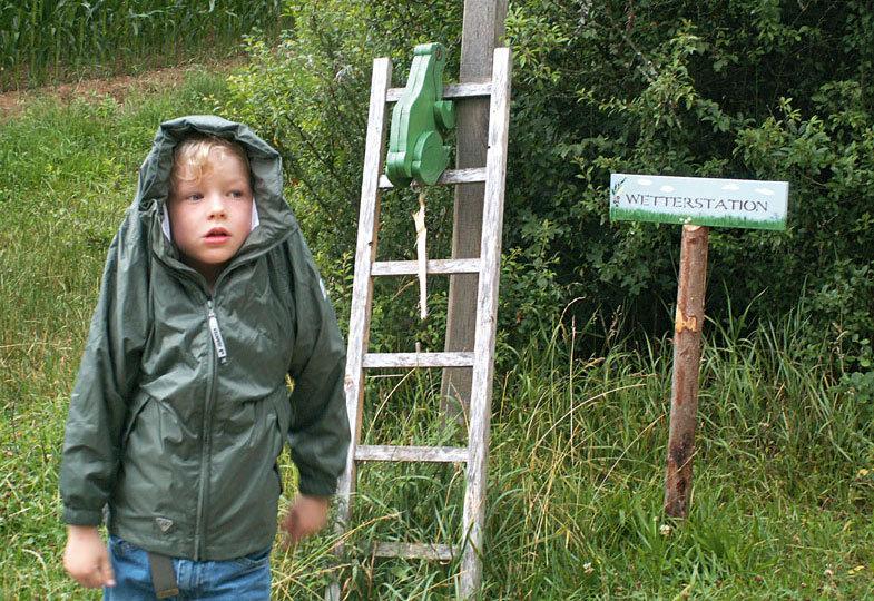 An der Wetterstation bestimmen die Kinder das Wetter und platzieren entsprechend den Frosch auf der Leiter