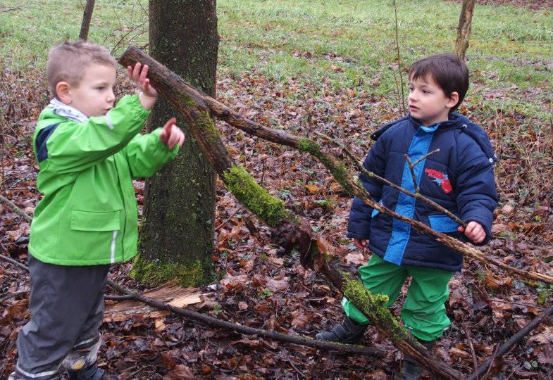 Im Wald suchen die Kinder nach Gegensätzen: Ein dicker und ein dünner Ast, …