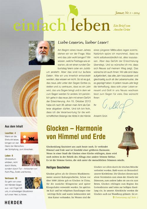 einfach leben – Ein Brief von Anselm Grün, Januar, Nr. 1 – 2014