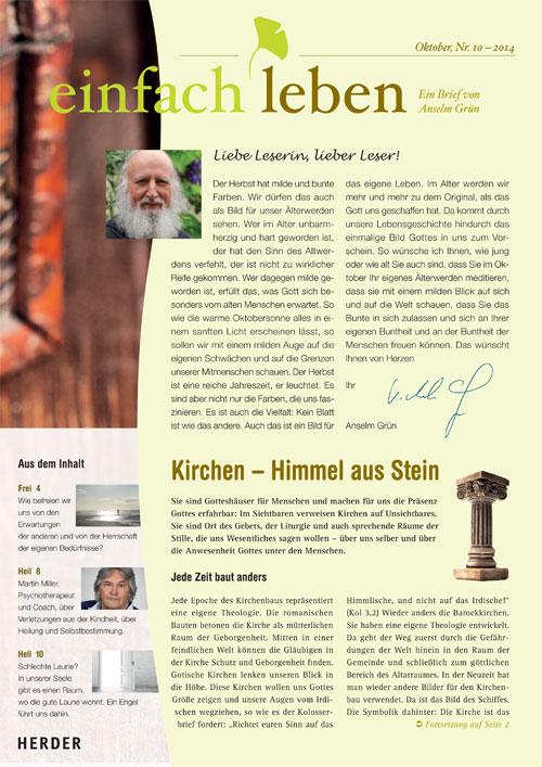 einfach leben – Ein Brief von Anselm Grün, Oktober, Nr. 10 – 2014