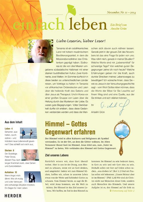 einfach leben – Ein Brief von Anselm Grün, November, Nr. 11 – 2014