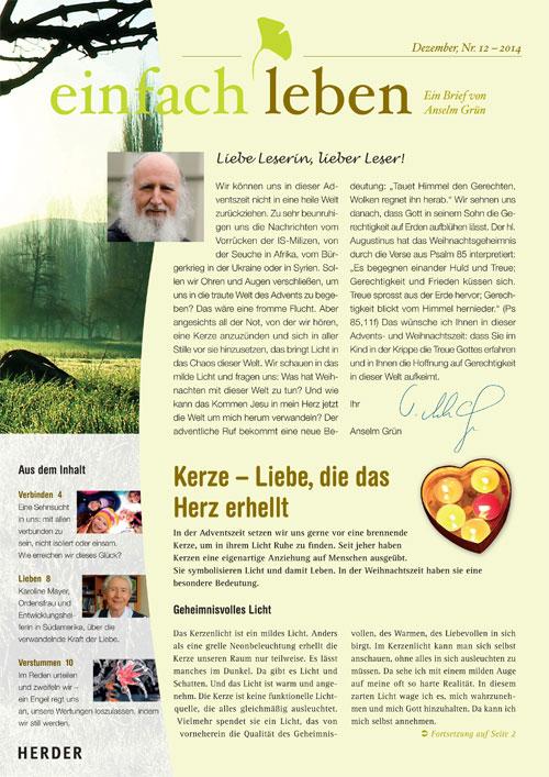 einfach leben – Ein Brief von Anselm Grün, Dezember, Nr. 12 – 2014
