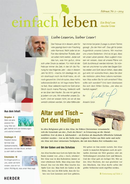 einfach leben – Ein Brief von Anselm Grün, Februar, Nr. 2 – 2014