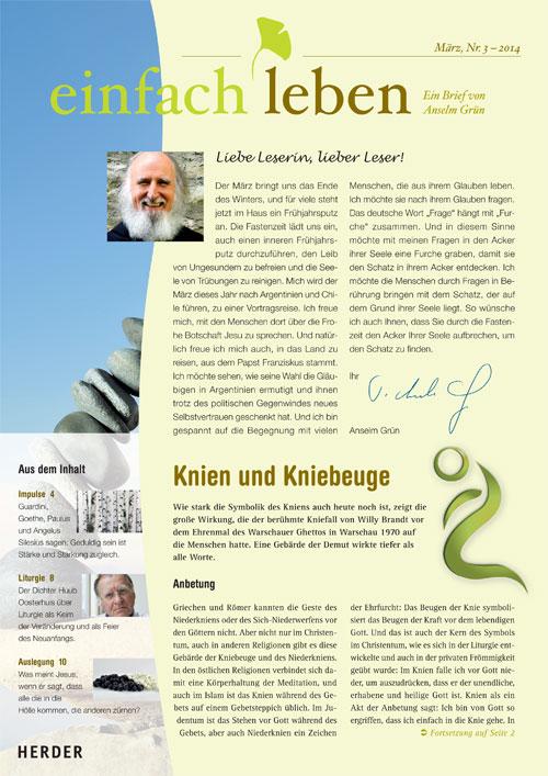 einfach leben – Ein Brief von Anselm Grün, März, Nr. 3 – 2014