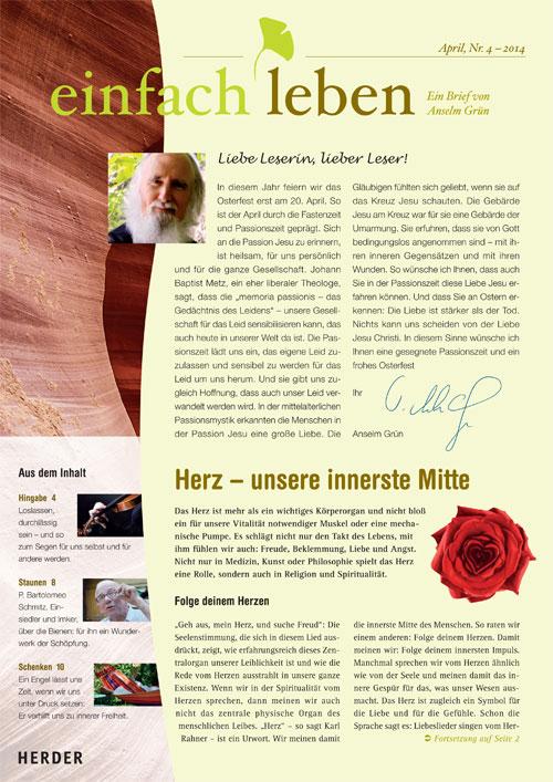 einfach leben – Ein Brief von Anselm Grün, April, Nr. 4 – 2014