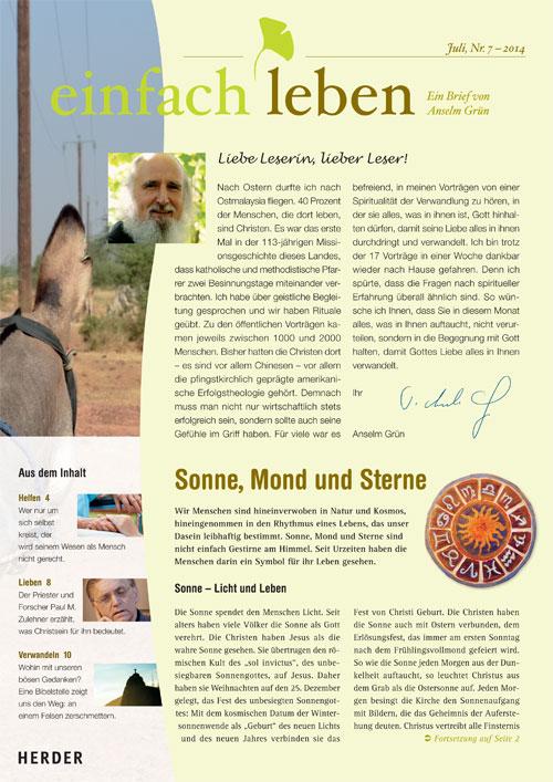einfach leben – Ein Brief von Anselm Grün, Juli, Nr. 7 – 2014