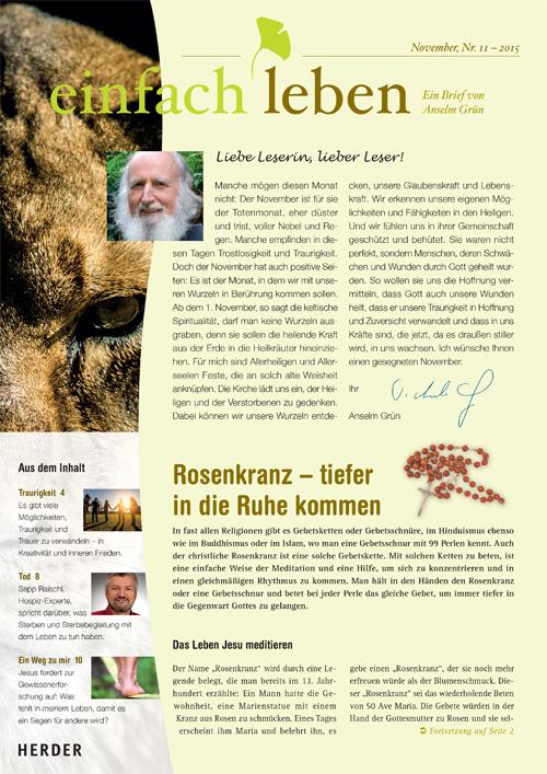 einfach leben – Ein Brief von Anselm Grün, November, Nr. 11 – 2015