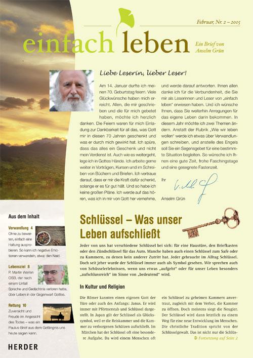 einfach leben – Ein Brief von Anselm Grün, Februar, Nr. 2 – 2015