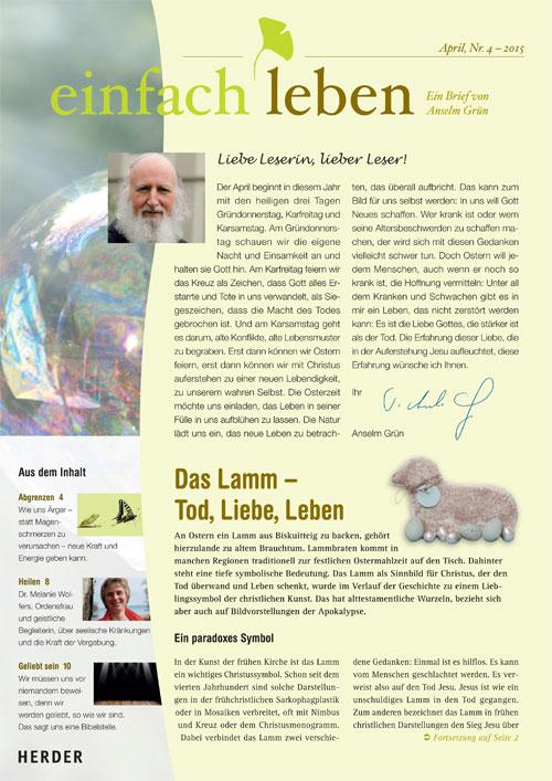 einfach leben – Ein Brief von Anselm Grün, April, Nr. 4 – 2015