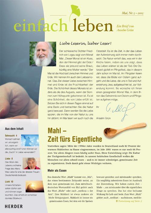 einfach leben – Ein Brief von Anselm Grün, Mai, Nr. 5 – 2015