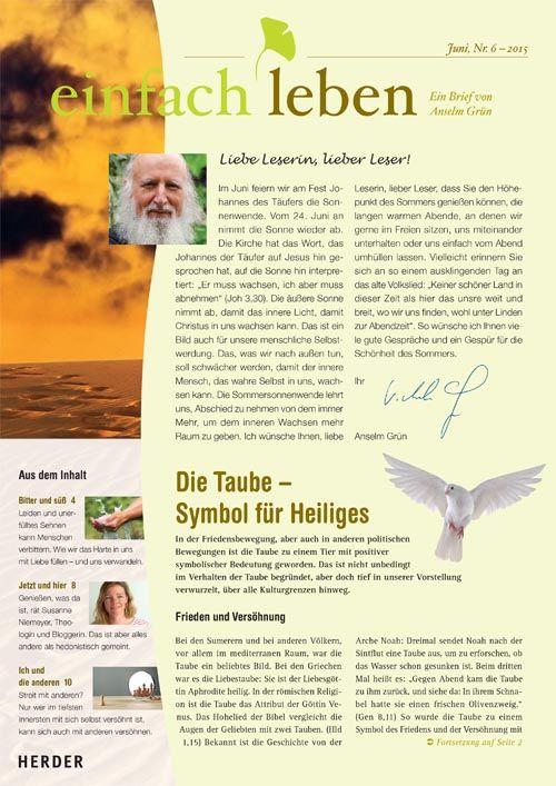einfach leben – Ein Brief von Anselm Grün, Juni, Nr. 6 – 2015