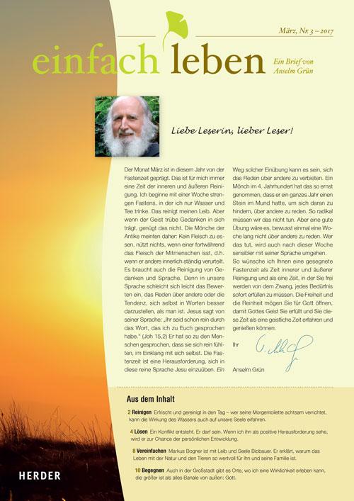 einfach leben – Ein Brief von Anselm Grün, März, Nr. 3 – 2017