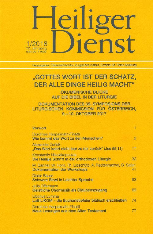 Cover Heiliger Dienst Heft 1 / 2018