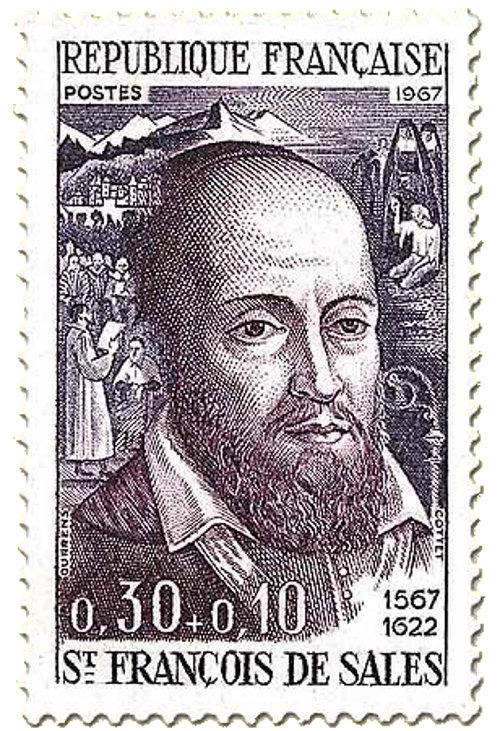 Eine französische Briefmarke zeigt das Konterfei des heiligen Paul vom Kreuz