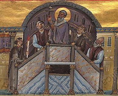 Buchmalerei einer liturgischen Kreuzerhöhung