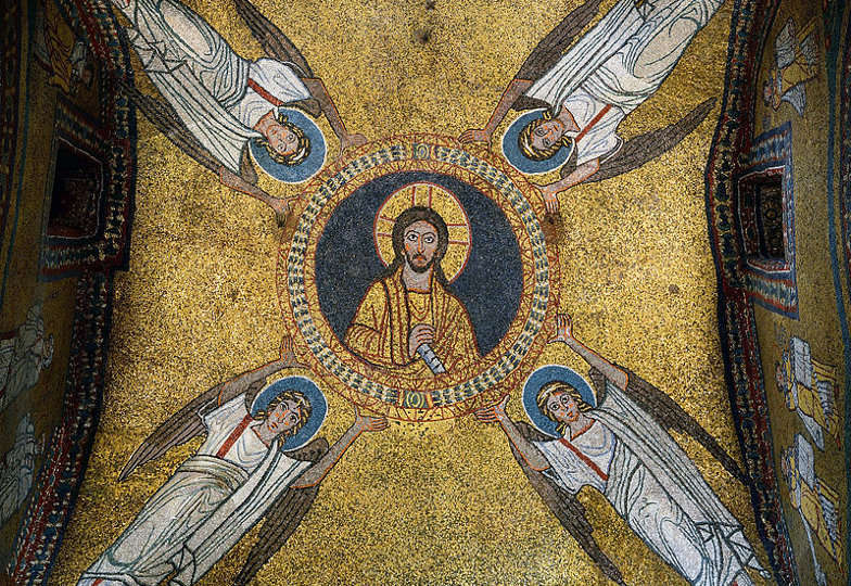 Das Kuppelmosaik in der Zeno-Kapelle in der Kirche Santa Prassede, Rom