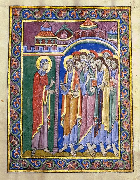 Handschriftenillustation: Maria Magdalena berichtet den Aposteln von der Auferstehung