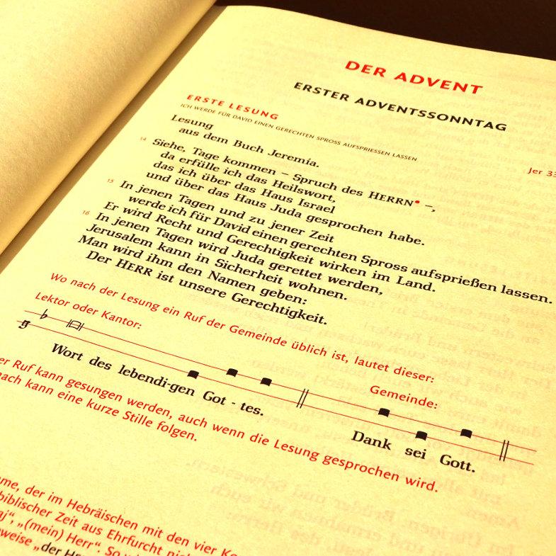 Die erste Lesung am 1. Advent im Lektionar III 2018