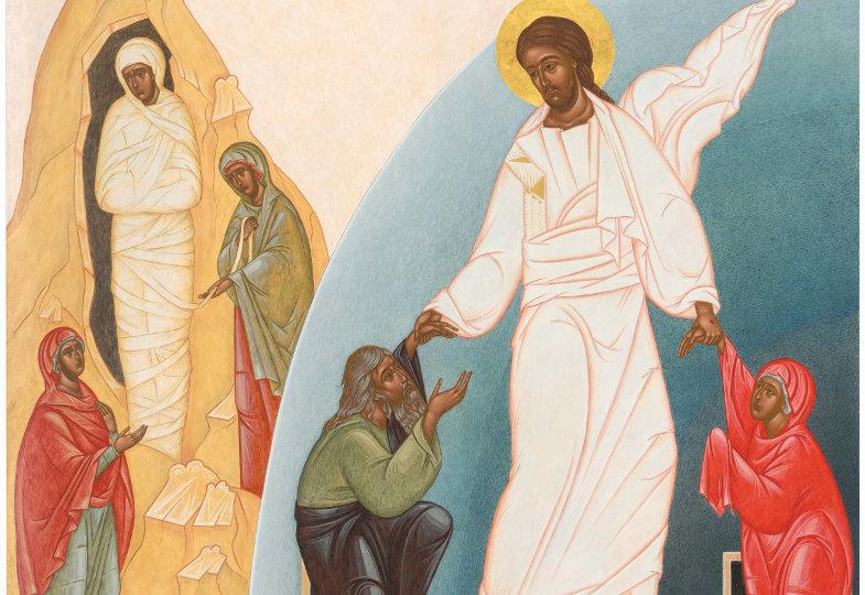 Darstellung der Auferweckung des Lazarus und der Auferstehung Christi