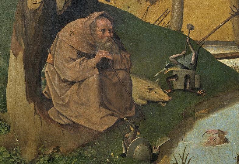Antonius sitzt an einem Bach
