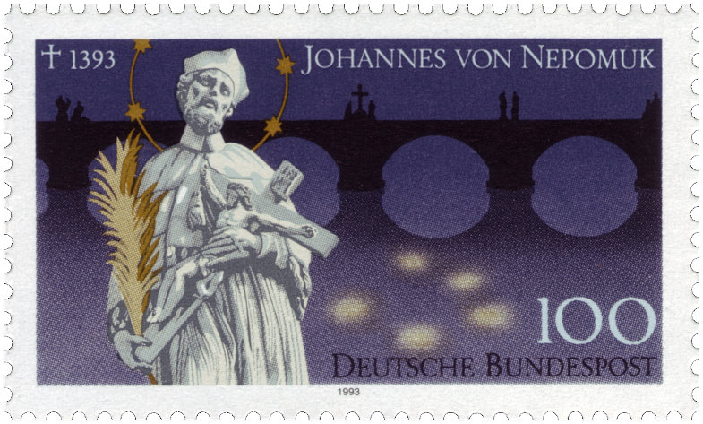 Johannes von Nepomuk auf einer Briefmarke der Deutschen Bundespost
