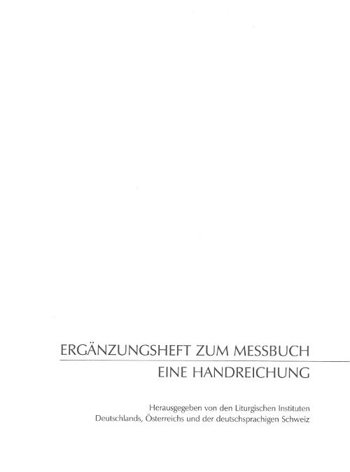 Cover Ergänzungsheft zum Messbuch (4. Auflage 2020)