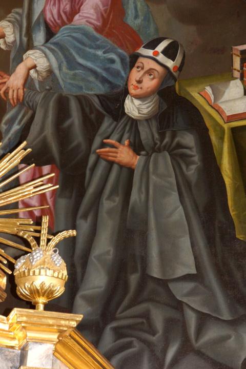 Birgitta von Schweden mit der typischen Kopfbedeckung ihres Ordens (Altarwandgemälde)