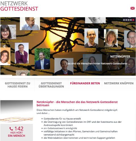 Screenshot der Webseite des