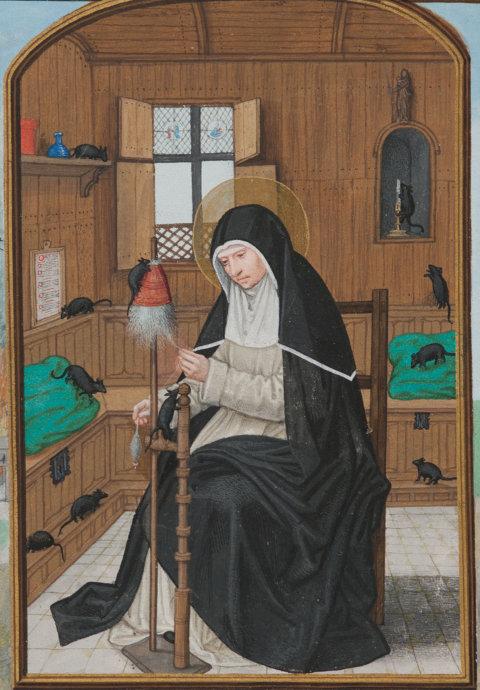 Gertrud von Nivelles am Spinnrad, von Mäusen umgeben