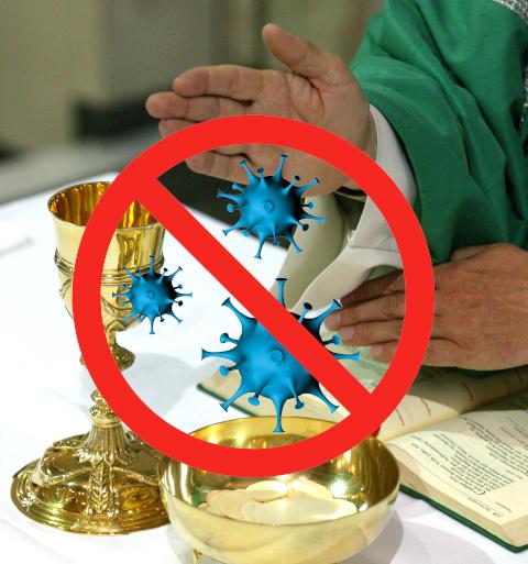 Kelch und Hostienschale während des Hochgebets, davor hineinmontiert ein Viren-Verbotszeichen