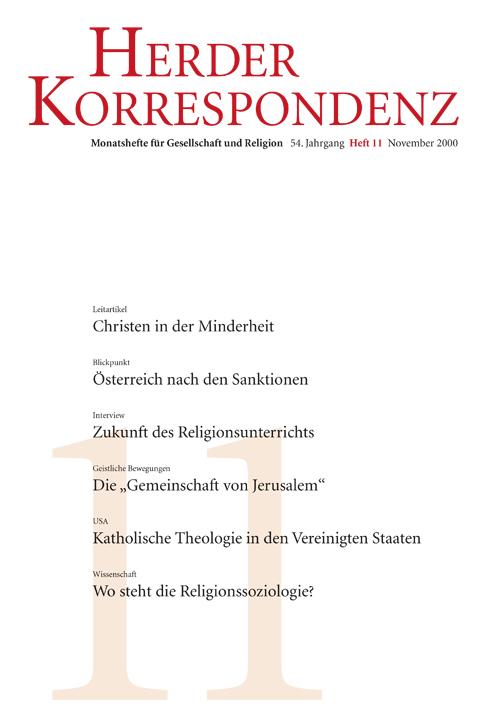 Herder Korrespondenz. Monatsheft für Gesellschaft und Religion 54 (2000) Heft 11