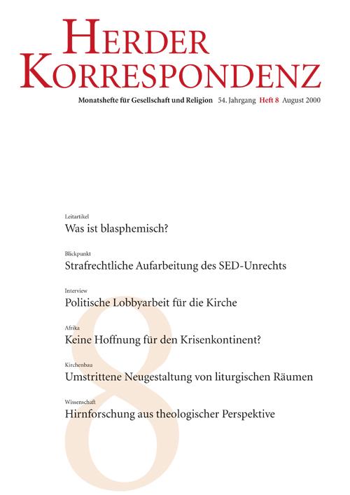 Herder Korrespondenz. Monatsheft für Gesellschaft und Religion 54 (2000) Heft 7