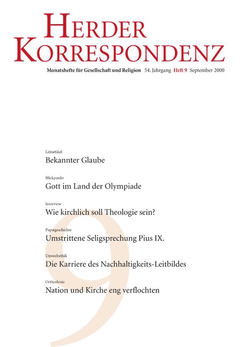Herder Korrespondenz. Monatsheft für Gesellschaft und Religion 54 (2000) Heft 9