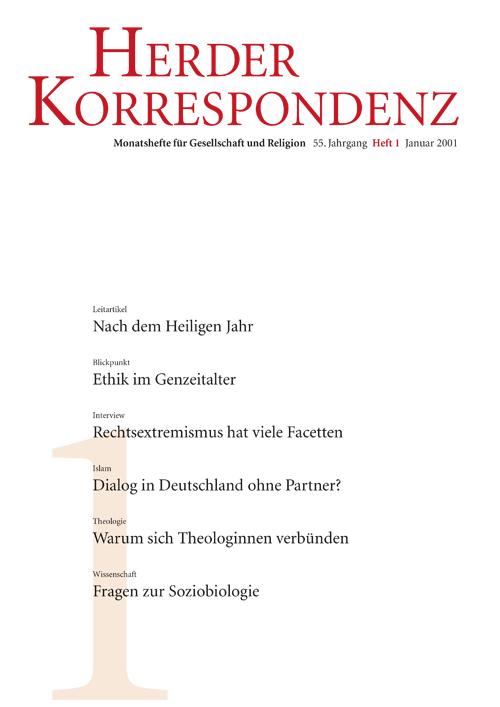 Herder Korrespondenz. Monatsheft für Gesellschaft und Religion 55 (2001) Heft 1